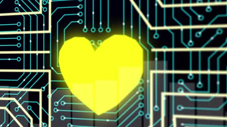 układ scalony : Heart with circuit board. Technology. Loopable. Blue. More color options in my portfolio