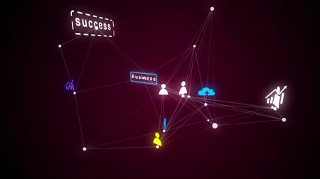 mapa : Abstract background with animation cloud network from connecting many users or data. Animation of seamless loop. Vídeos