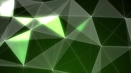 nagy felbontású : Loopable Abstract Green Low Poly 3D surface as CG background. Soft Polygonal Geometric Low Poly motion background of shifting Green polygons. Stock mozgókép