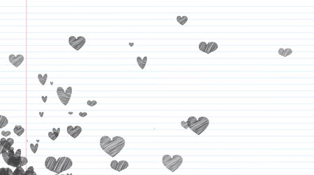 forrado : Heart graphics in a notebook background Vídeos