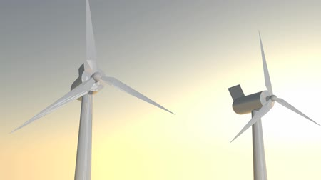 sustainable resources : Seamless looping animation of wind turbines spinning