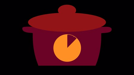 minuta : Kitchen timer for 10 minutes. Pan with a timer, on a transparent background Dostupné videozáznamy