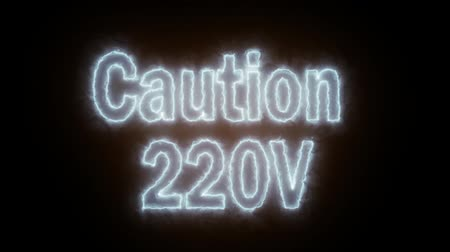 adapter : Warning 220 volts, animation with fiery captions