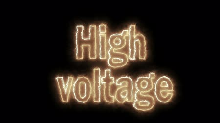 cabling : Caution, high voltage network, warning on a black background. Stock Footage