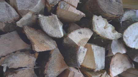 picado : The chopped and sawn trunks of trees is stacked in a large log woodpile in the yard. Stacked firewood prepared for the fireplace and stove, dolly shot.4K
