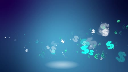 prosperita : Hundred dollar bills flying in the air over blue sky background