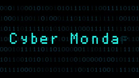 segunda feira : The words Cyber Monday sale, are you ready?, appearing with digital noise and glitches. Dot matrix font.