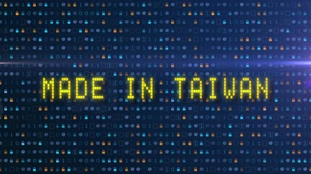 built : Made in Taiwan, digital background with animated letters. Stock Footage