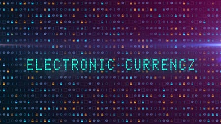 block chain : Electronic currency text animated on a digital background Stock Footage
