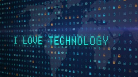 cyberpunk : hand typing i love you words writing on old led lcd tube computer display screen close up pixel animation - new quality retro vintage futuristic wording typography video footage loop