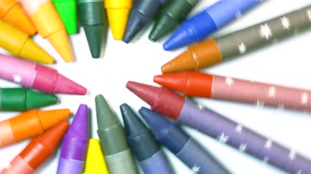 crayon : Seamless looped rotating pencils wheel on white background Stock Footage