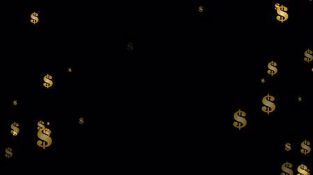 png : Animated shinning gold dollar sign exploding and flying toward camera in slow motion and against transparent background. Alpha channel embedded with PNG file. Stock Footage