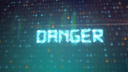 езда с недозволенной скоростью : Seamless DANGER Alert word on black screen loop.4K Animation of monitor screen showing yellow danger!! text alert sign glow and blinking background. Стоковые видеозаписи