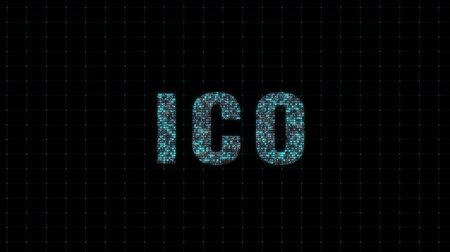 initial : Loopable ICO initial coin offering blockchain technology network futuristic hud background. Global cryptocurrency ICO blockchain business banner concept.Seamless loop video footage animation