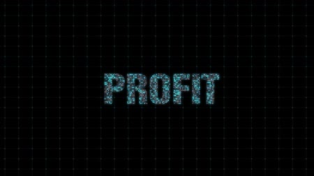 title : Profit, information technology, digital animated text with binary code, single computing system, computer computing Stock Footage
