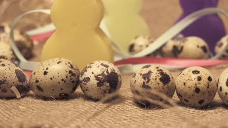 描かれた : Easter quail eggs on a drape background, Happy Easter, Easter backgrounds in my portfolio 動画素材