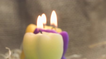 memorial day : Burning wax candles with a beautiful bokeh