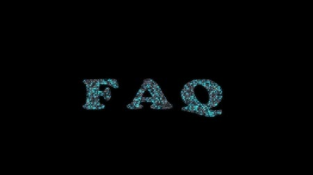 rehberlik : FAQ digital animation with binary code Stok Video