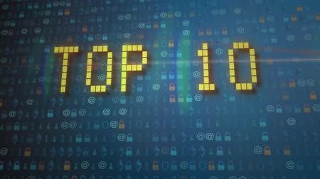 top ten : Top 10 intro video, modern Teal blue cinematic realistic 3D animation. Teal metal and high-tech orange Ideal for television Top Ten shows.