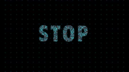videogame screen : Stop, digital animation with binary code, computational operation, text from numbers