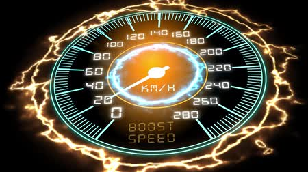 futuristic speedometer with the pointer that pass from the old 1G to the new 5G technology, concept of fast mobile network (3d render) Стоковые видеозаписи