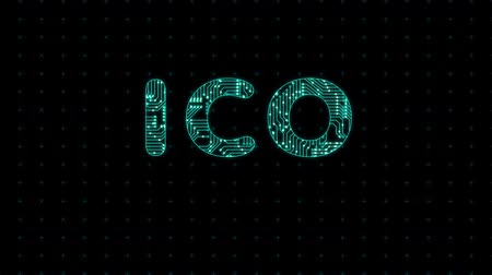 Loopable ICO initial coin offering blockchain technology network futuristic hud background. Global cryptocurrency ICO blockchain business banner concept.