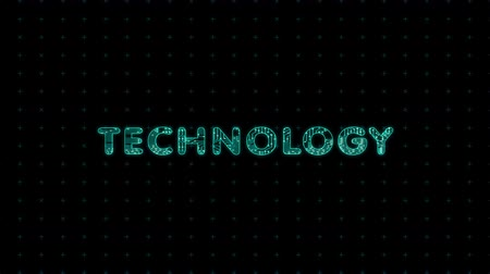 Technologies, text with microprocessor computing texture, microprocessor background in text Стоковые видеозаписи