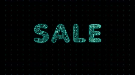 Sales, text with microprocessor computing texture, microprocessor background in text Стоковые видеозаписи