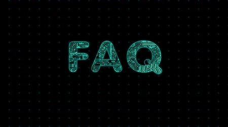 FAQ, text with microprocessor computing texture, microprocessor background in text