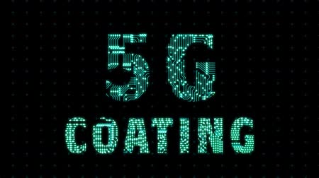 5g coating, a word with a microprocessor circuit texture. The text is filled with tracks microcircuits.