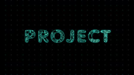 Project, coating, word with a microprocessor circuit texture. The text is filled with tracks microcircuits. Wideo
