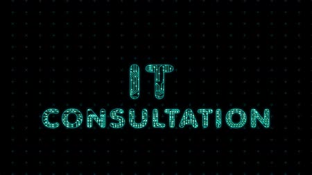 IT consultation, digital animation of text with a microprocessor texture, electronic animation
