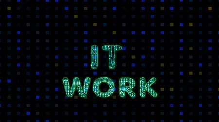 IT work, digital animation of text with a microprocessor texture, electronic animation Wideo