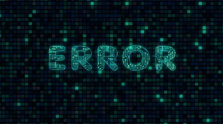 Error, a word with a microprocessor circuit texture. The text is filled with tracks microcircuits. Стоковые видеозаписи
