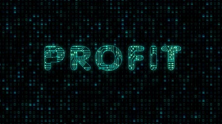 Profit, text with microprocessor computing texture, microprocessor background in text Стоковые видеозаписи