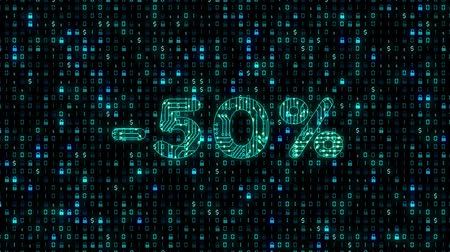 Sale 50% - blue glowing neon promo text as circuit board style on transparent background. Discount 50% animation text. Sale campaign promo.