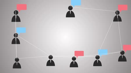 People network of social groups connected via social media and devices render animation Стоковые видеозаписи