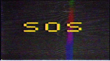 sand paper : SOS, the message on the screen of the old monitor. VHS interference on the TV screen. Stock Footage