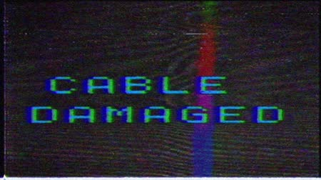 fuzz : The cable is damaged, the message on the monitor.Noise Glitch Video Damage.Analog TV interference. VHS interference on the old TV