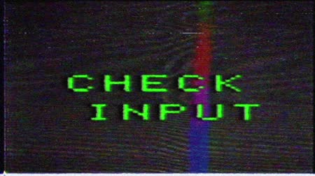 összeállít : Login failed, text with image noise, analog TV interference. VHS interference on the old TV... Stock mozgókép