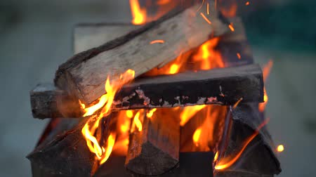 Bright fire and blue smoke envelop the hot dry wood in the grill.