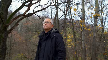 A slender man with gray hair and glasses stands in the forest and zips up his jacket to keep warm in the autumn forest on a cloudy day.