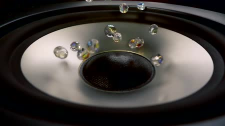 membrane : Close up shot of a brand new speaker with a small diamonds on. Stock Footage