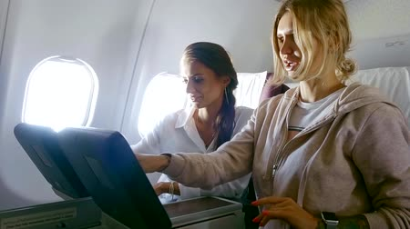 aircraft cabin : Two sexy women on a first-class flight.
