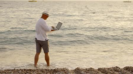 kommunikátor : Freelancer works on a beach