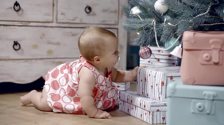 unconditional : baby is nine months crawling on the floor in a dress and tries to take the toy ball with Christmas tree Stock Footage