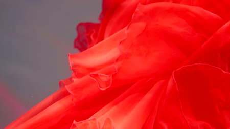 lem : close up shot of a scarlet cloth that flutters under the water, its hem moves to the sides