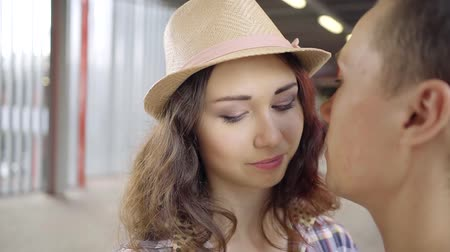 seducing : Affectionate young couple having a romantic time together Stock Footage