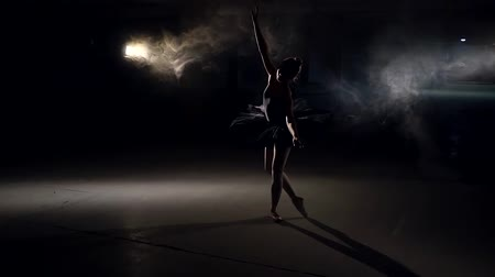 modernist : silhouette of dancing ballerina with hair in a bun, in huge empty gloomy hall