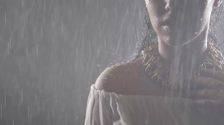 tincture : Portrait of Oriental girl in the fog at night in the rain. On her graceful neck wearing a gold necklace Stock Footage
